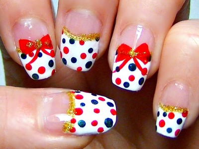 Simple Holiday Nail Art: Red and Green Polka Dot Tutorial