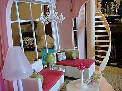 Barbie three story dream house Dollhouse tour customized w. kidkraft wooden doll furniture