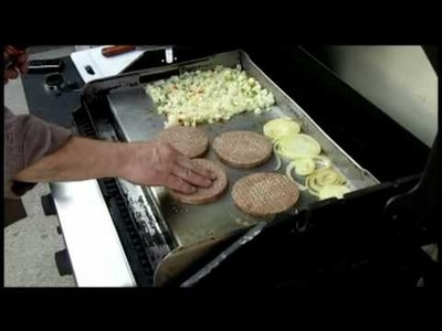 Burgers & Onions with Hashbrowns on the Griddle-Q