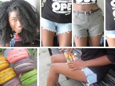 How To Make Cutoff Shorts with Fringe | High Waisted - StyleByNap85