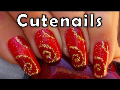 Nail art for Christmas : Red and Gold design