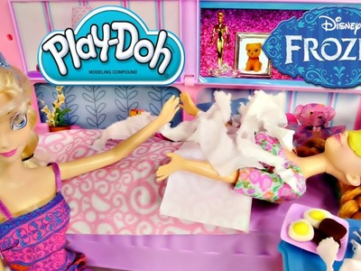 Princess Anna's Sick! Disney's Frozen Barbie Elsa Cooks Play Doh Breakfast and Helps Anna Episode