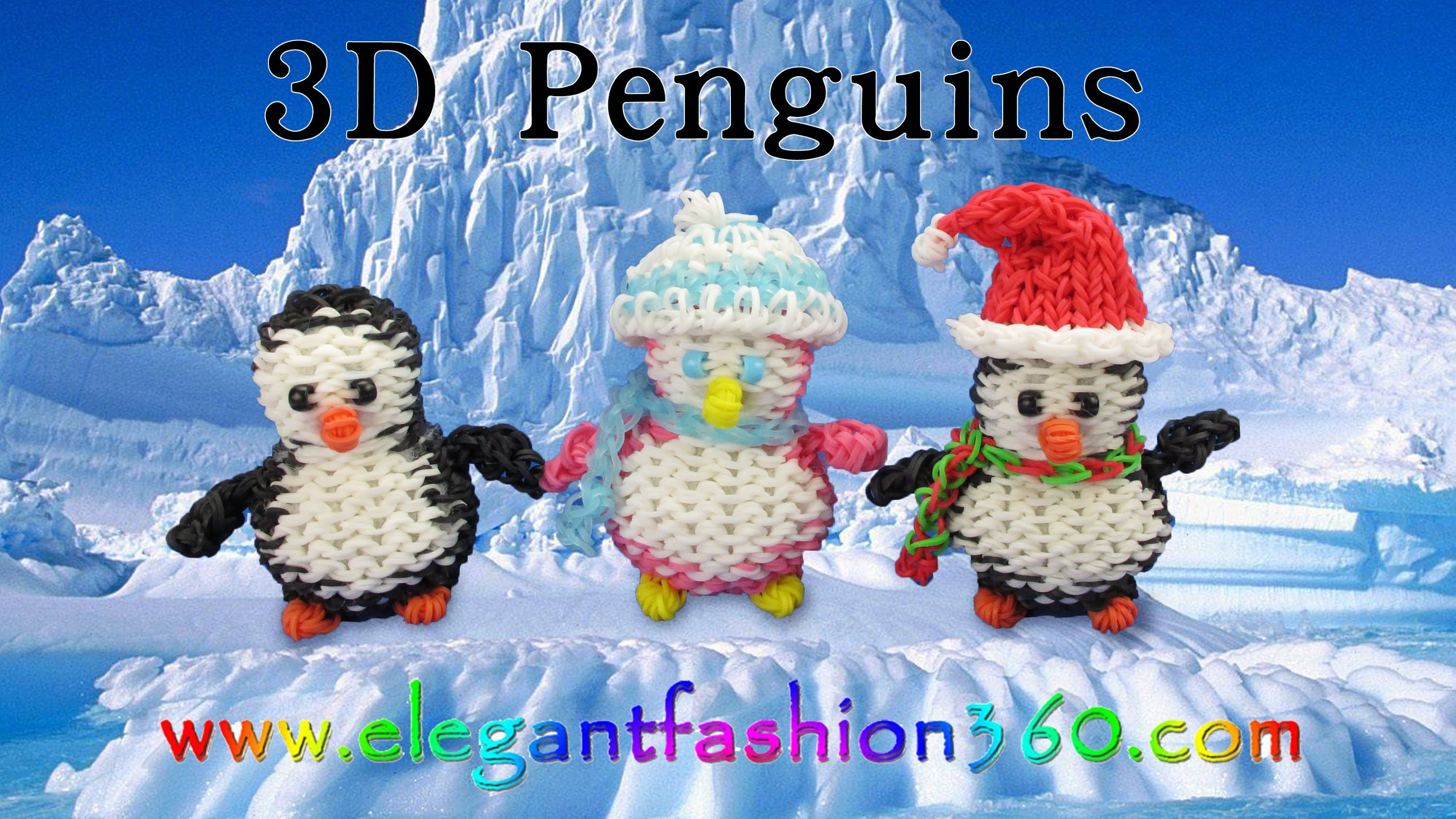 Rainbow Loom Penguin 3D Charms - How to Loom Bands Tutorial Christmas.Holiday.Winter.Animal
