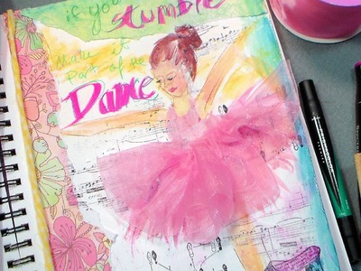 Dance mixed media art journal page