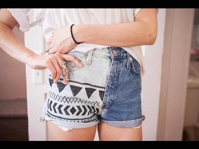 DIY bleached aztec denim shorts