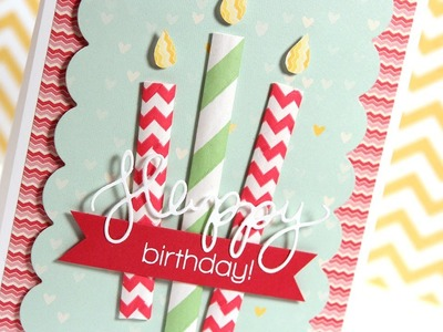 Paper Straw Birthday Candle Card