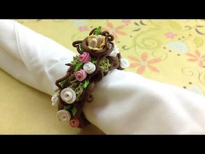 Polymer clay.Fimo tutorial- Spring napkin ring.Argola de guardanapo Primavera
