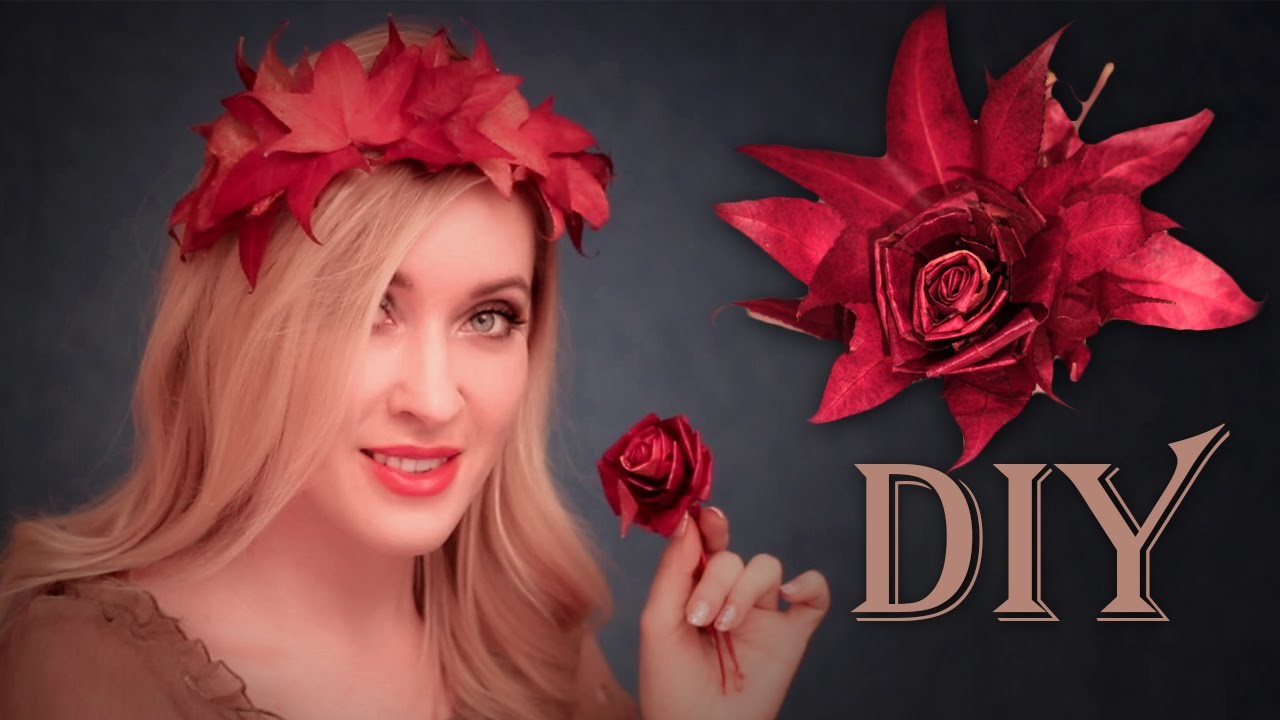 DIY fall.holiday decorations for hair.home ✿ Leaf CROWN + FLOWER (rose)