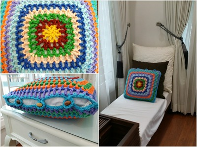 DIY Room Decoration. Crochet Granny Square Cushion Cover (Home Decoration)