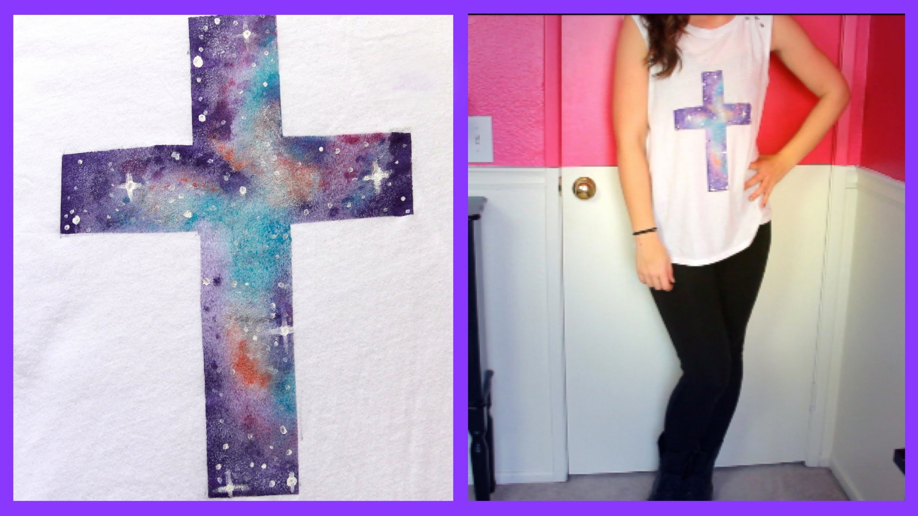DIY Tumblr Galaxy Cross Shirt