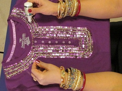 HOW TO DECORATE A T-SHIRT OR BLOUSE WITH SEQUINS AND BEADS AND GIVE IT A STUNNING LOOK.