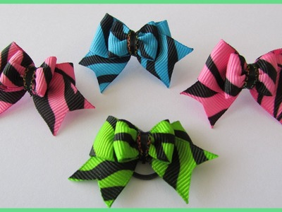 How to make a Cheer Bow - Tutorial with subtitles - DIY Simple Dog Hair Bows No.3
