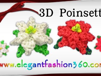 Rainbow Loom Poinsettia 3D Charm.Holiday.Christmas Flower.Ornament - How to Loom Band Tutorial