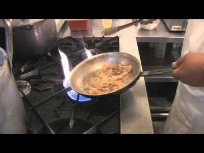 Chicken Ruffino dinner video recipe. Fresh peach and moscato wine make this chicken recipe.