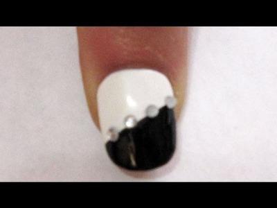 Easy Nail Art: Diamond Black and White nail art tutorial - EP