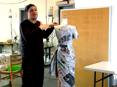 Isaac Mizrahi makes a couture dress out of newspapers