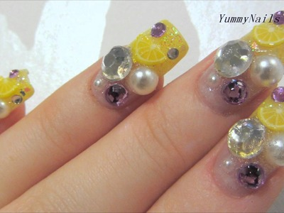 Kawaii Collaboration with JapanNailsAndMore - Yellow and Lavender Citrus Design Nail Art Tutorial