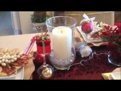 My Simple Gold, Red + White Christmas Table 2012 {tablescape}