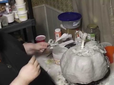 Paper Mache Pumpkins- 6 - Paper Clay Smoothing