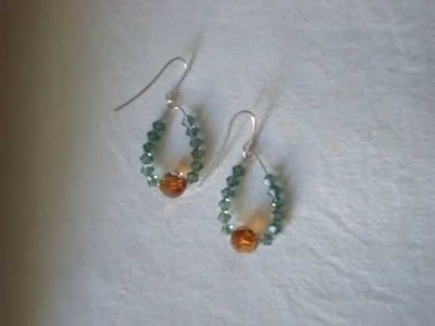 Silver Swarovski erinite crystal dangle earrings