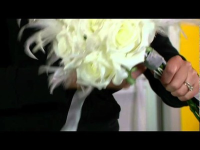 Create a Sparkling White Rose & Feather Wedding Bouquet