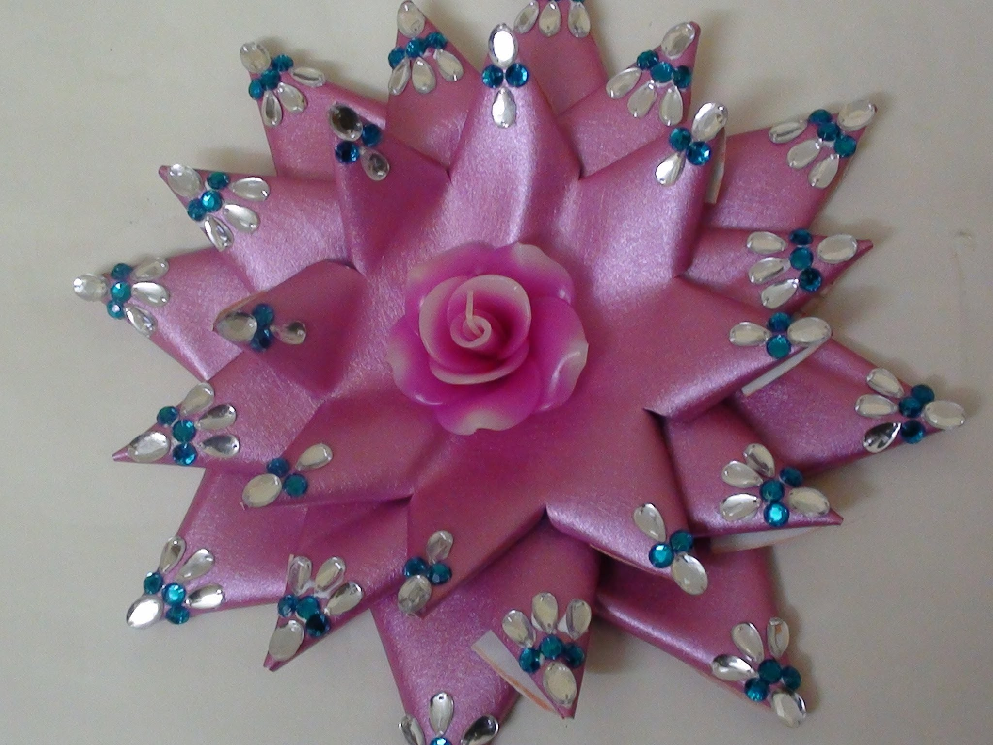 Lotus making with candle decoration