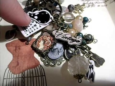 My First Charm Swap.  Life on the {scrap} beach tim holtz swivel clasp.   vintage curio