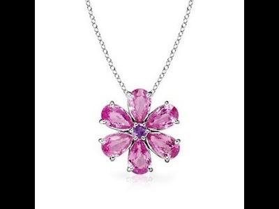 Pear Pink Sapphire Flower Pendant