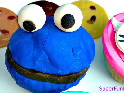 Play-Doh How to make Cookie Monster Cupcake in Fun easy to follow steps with a FUN ending