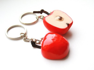 Polymer clay apple half key ring TUTORIAL (Valentine's day project)