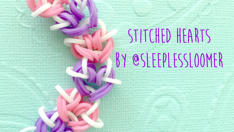 Rainbow Loom Stitched Hearts by @SleeplessLoomer Tutorial