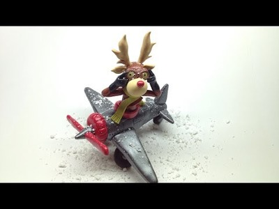 Reindeer in the airplane. Rena no avião- Polymer clay (Fimo soft)