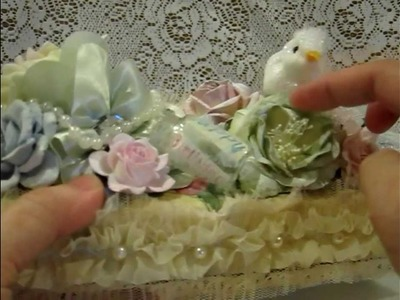 Shabby Chic Flower book.Lace cake.altered egg carton