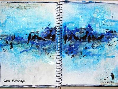 Art Journal Process Video using watercolour paints
