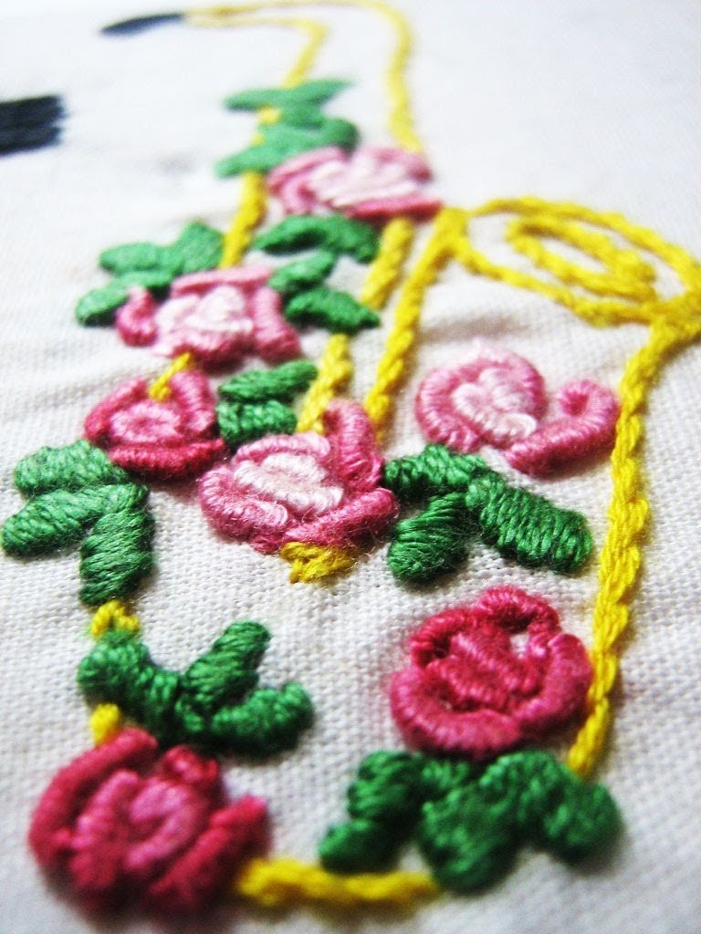 Hand embroidery -Bullion knot stitch (stitch a rose)
