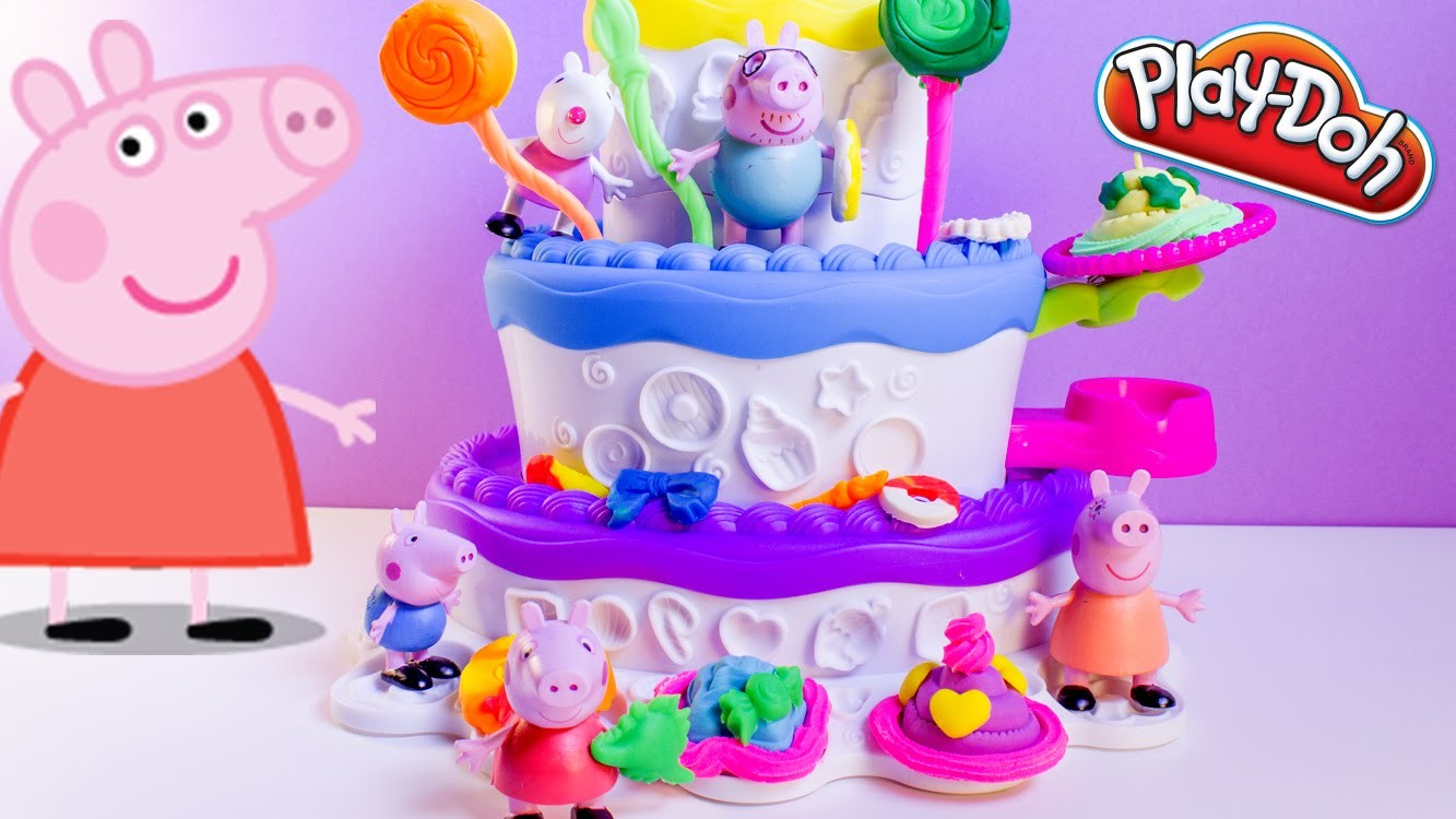 Peppa Pig Play Doh Cake Mountain Playset Sweet Shoppe Peppa's Birthday Cake Dough Set Plastilina