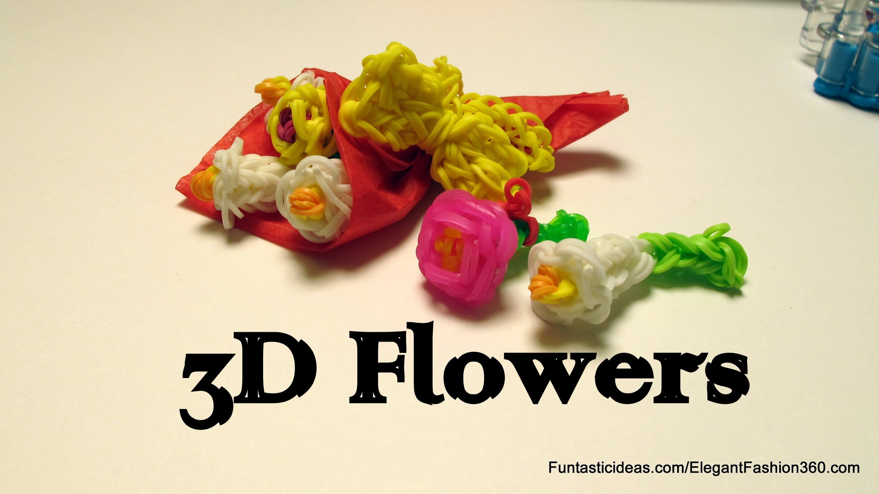 Rainbow Loom 3D lily Flowers Bouquet Charm - How to - Mother's Day gift idea