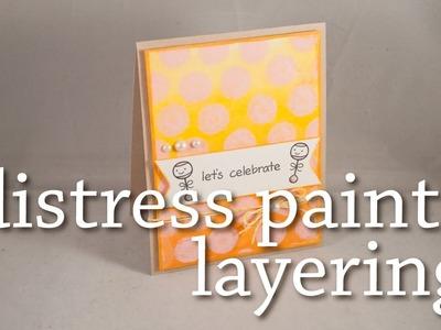 Distress Paint Layering - Gradient and Polka Dots Baby Card