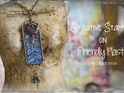 Friendly Plastic TV -  Gorgeous glass like effects with stamping techniques - Art Pendant