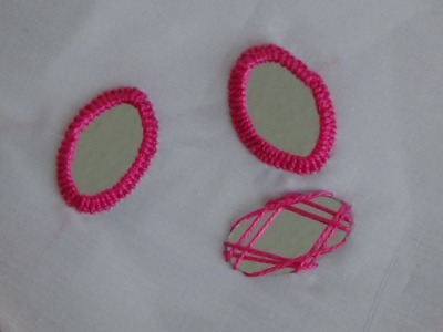 Hand Embroidery: Mirror Work (Oval Shaped Mirror)