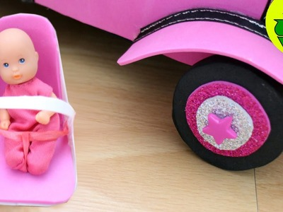 How to make a baby car seat for your Doll's baby - Easy Doll Crafts