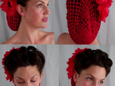 HOW TO retro VINTAGE inspired snood updo hairstyle (40's 50's pinup) - Vintagious