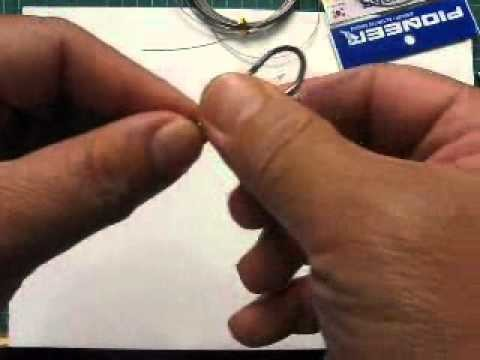 How To Rig. Tie Knotless using  wire leader to fishing hooks.