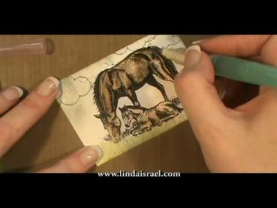 How to use Stamps and Water Color Pencils for Farm Animals. Horse ATC