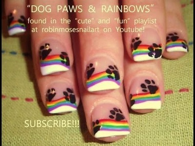 Paw Print & Rainbow Nail Art