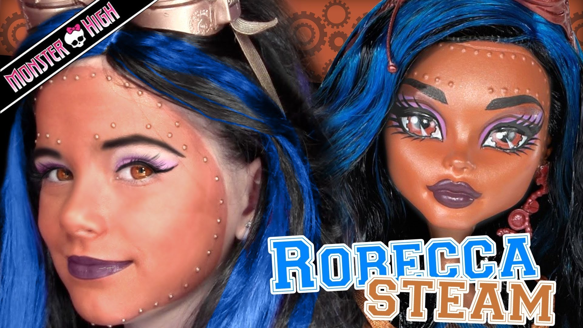 Robecca Steam Monster High Doll Costume Makeup Tutorial for Cosplay or Halloween