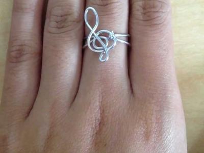 DIY treble clef ring