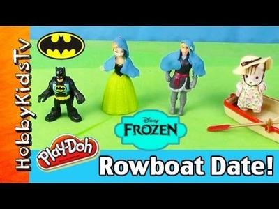 FROZEN Anna and Kristoff Boat Date! Calico Critters Rosie Cat BATMAN Box Open by HobbyKidsTV