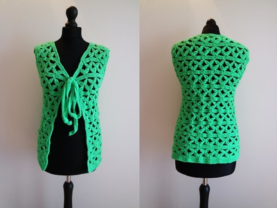 How to crochet green jacket bolero cardigan Chaleco para principiantes free tutorial pattern