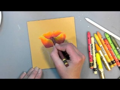 How to Paint a Poppy with watercolor crayons tutorial